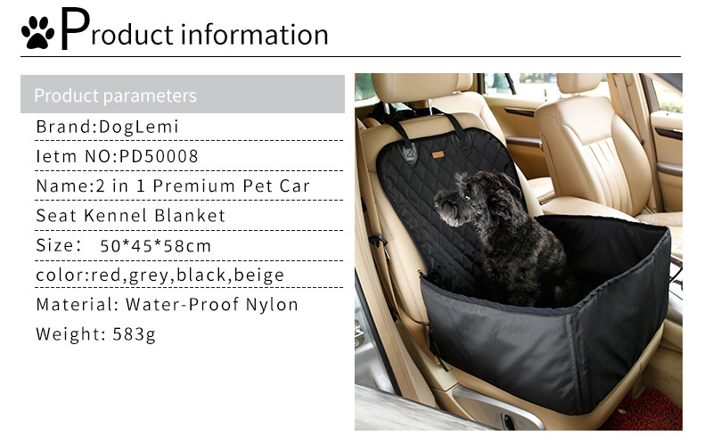 2 in 1 Delux Pet Seat Cover Waterproof Dog Car Front Seat Crate Cover