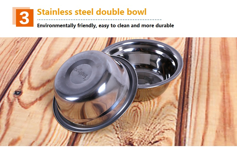 Double Pet Cat Bowl With Stand Thick Stainless Steel Pet Food Feeder Of Wholesale Stainless Steel Dog Bowl