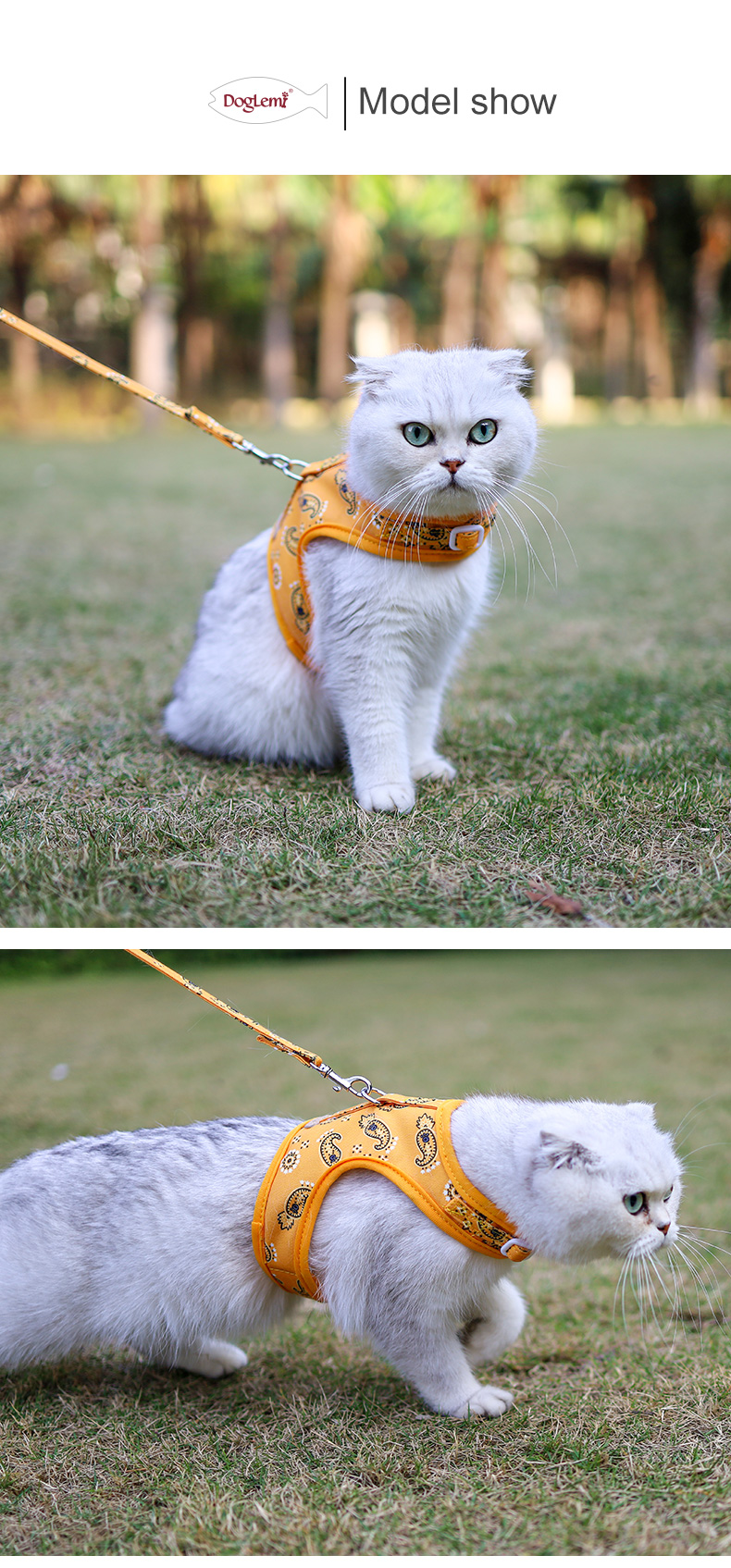 Cat harness and leash set  for walking ,cat harnesses escape proof