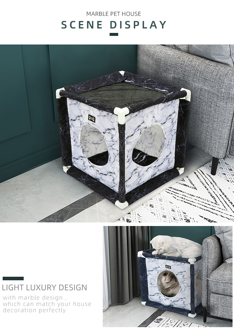 Marble pet cat house cave summer winter dog puppy crate kennel cat village bed