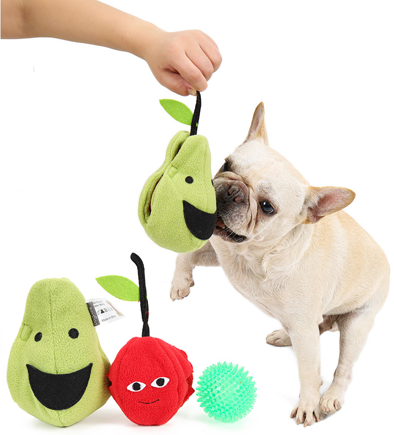 Interactive dog toy squeaky ball ,2 in 1 pearl with cherry ball pet toys squeaky