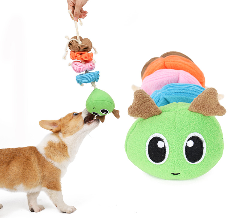 Teeth cleaning plush pet dog toy manufacturers ,Caterpillar design snuffle training dog toys puzzle