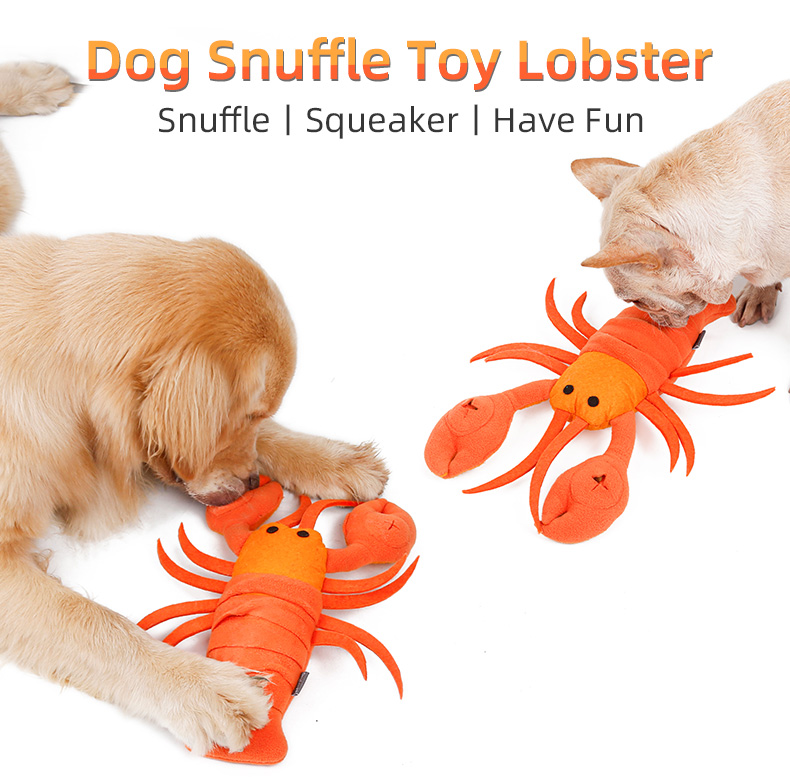 Lobster Design Seafood Plush Dog Toy IQ Training Snuffle Training Chewing Pet Toys