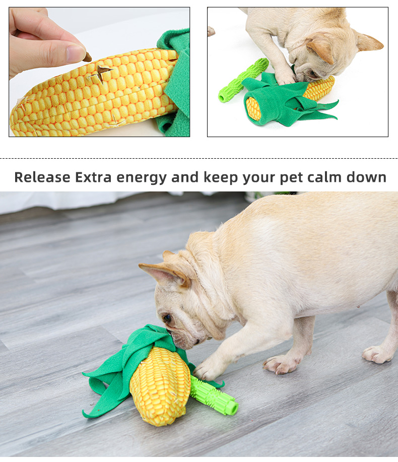 Slow eating 2 in 1 corn design dog toy durable ,chew plush toys for dogs logo