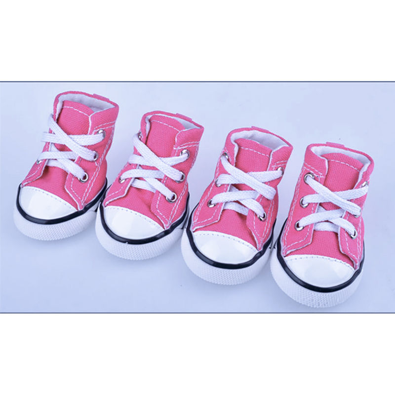 Cute Puppy Pet Dog Sporty Shoes Jeans Denim Canvas Dog Boots Nonslip Dog Booties Sneaker Small Doggies - 4 Pcs in One Pack