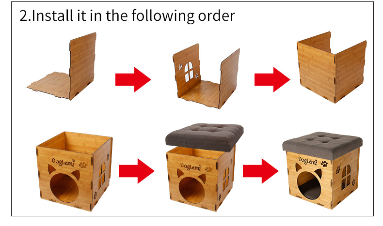 DogLemi New Design Functional Nature Wooden Pet Cat House Cave And House Chair