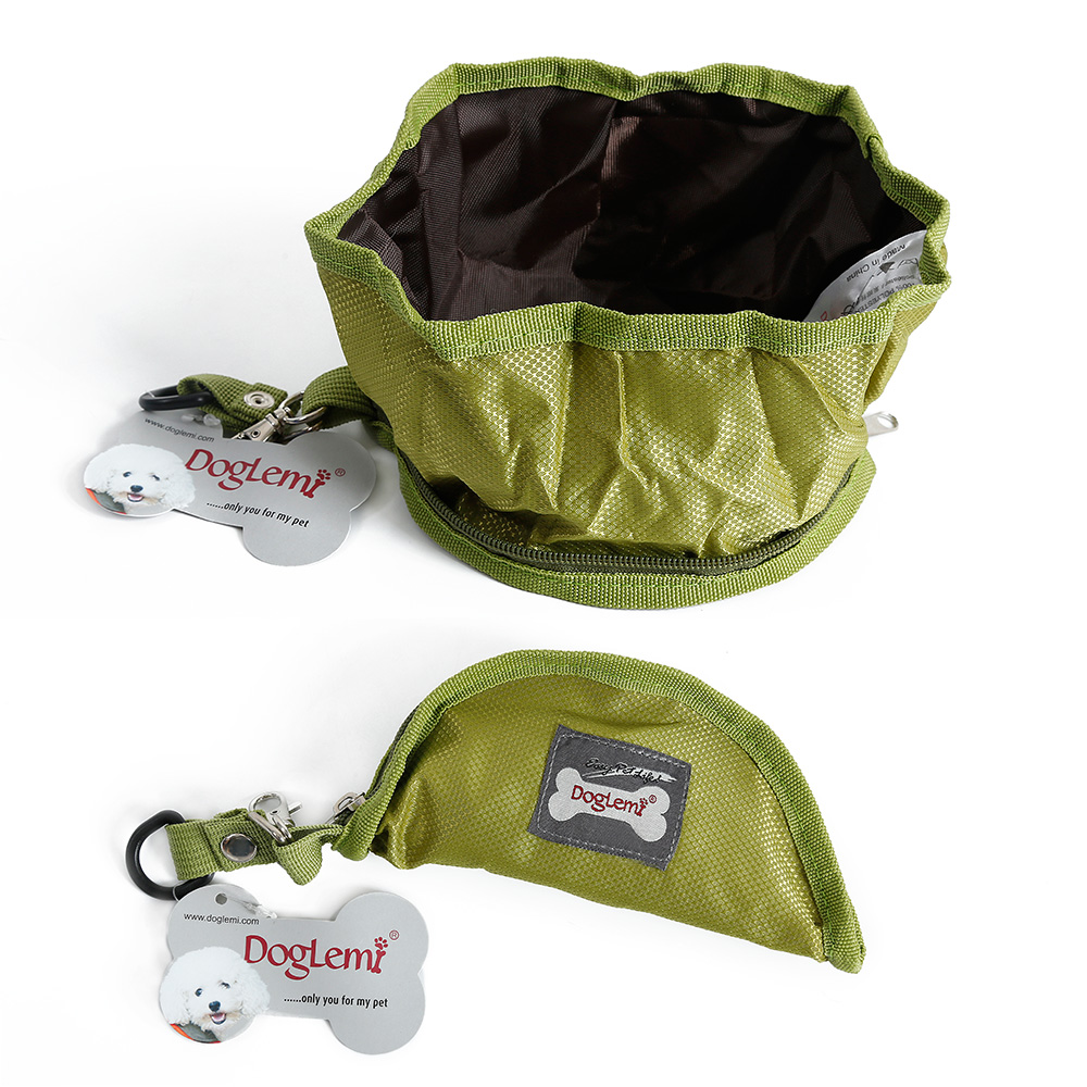 Doglemi Folding Collapsible Portable Travel Food & Water Bowl for Pets Dogs