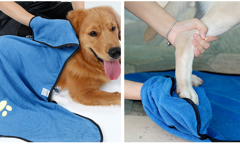 Dog Drying Bath Blue Towel For Dirty Paws For Dog