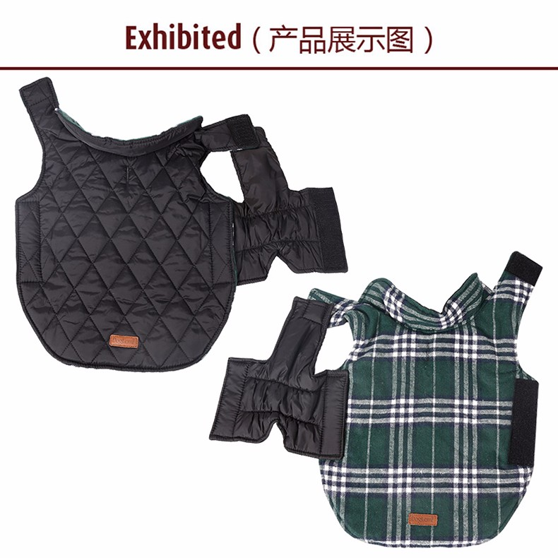 Reversible Pet Jacket Classic Plaid Checked Quilted Large Dog Coat Winter Pet Clothes