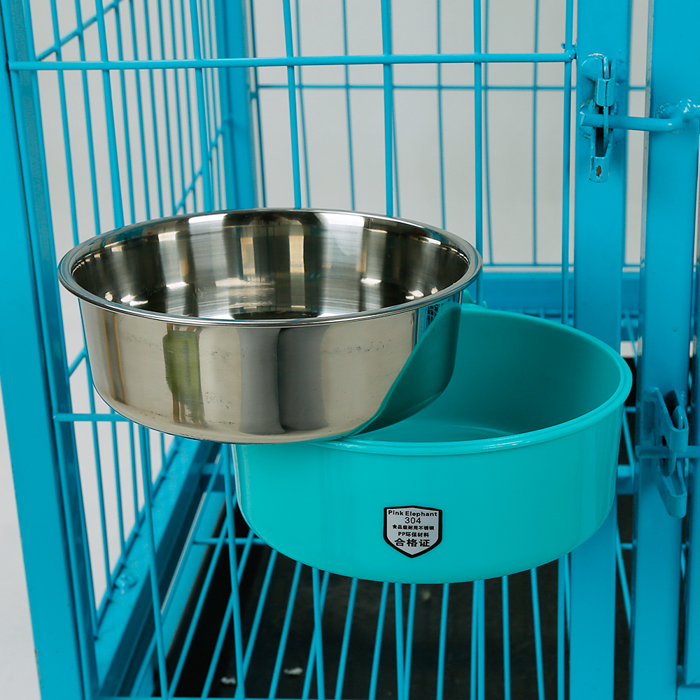 Pet Bowl for Cage Lunch Box Stainless Steel Hanging Dog Cat PetFood Bowl to Attach to Cage