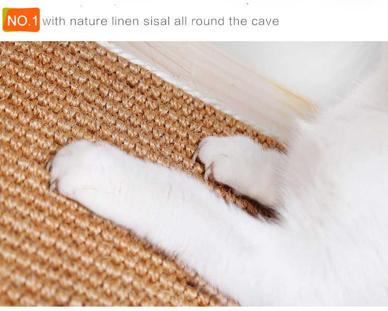 Nature Cat Beds Furniture Simple 2 Leve Furniture Cat Tree Solid Wooden Scratching Post Cat