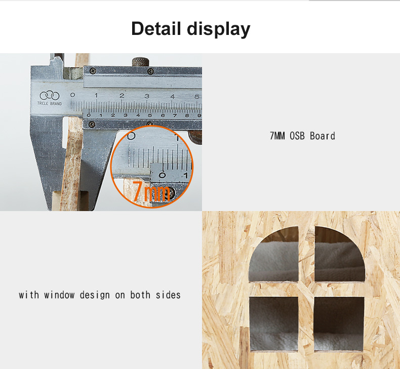 Foldable Outdoor Cat House 7MM OSB Nature Wooden Large Dog House