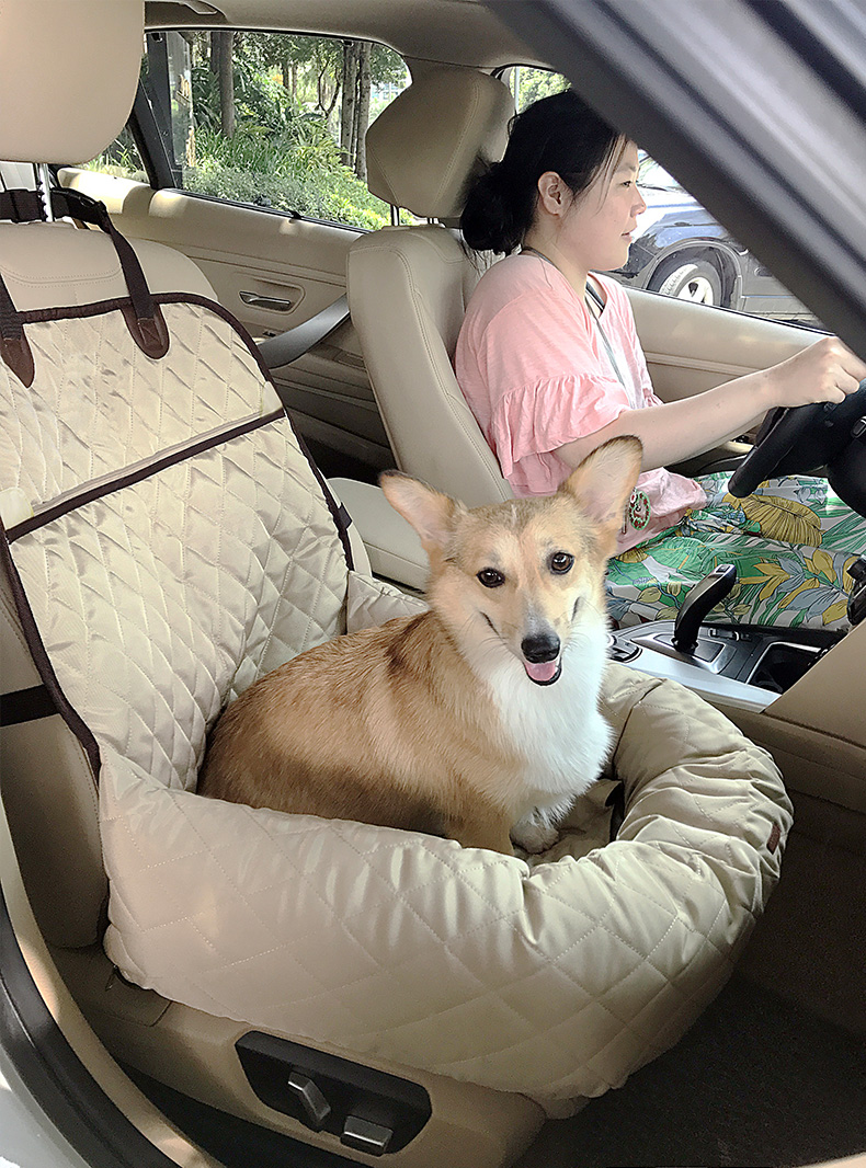 New Functional Pet Booster Bed Deluxe Pet Dog Front Seat Cover