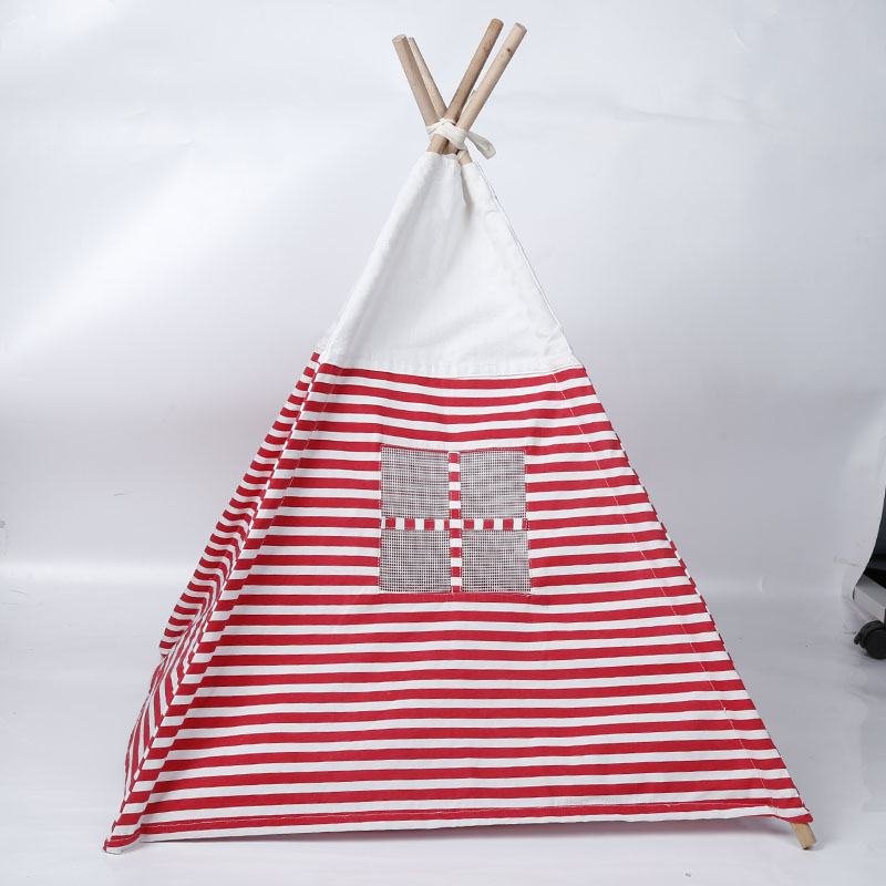 Breathable Striped Dog Cat Pet Tent Washable Canvas Pet Dog Teepee