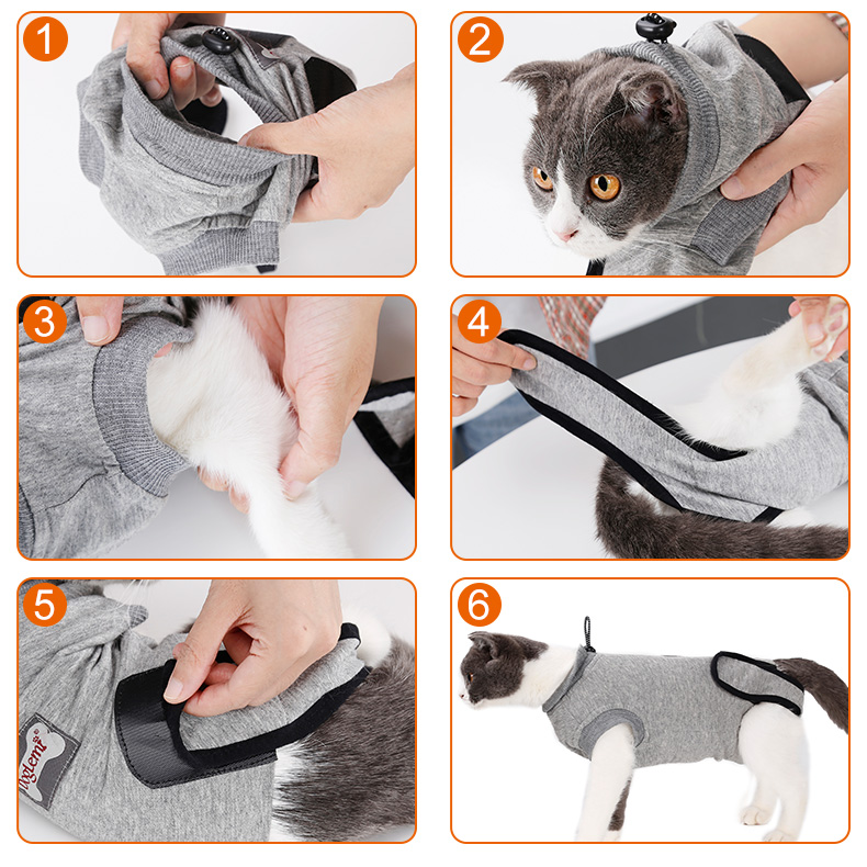 Cat Surgery Wounds Protective Clothes Recovery Suit E collar Cone Alternative Cat Cotton Care Shirt