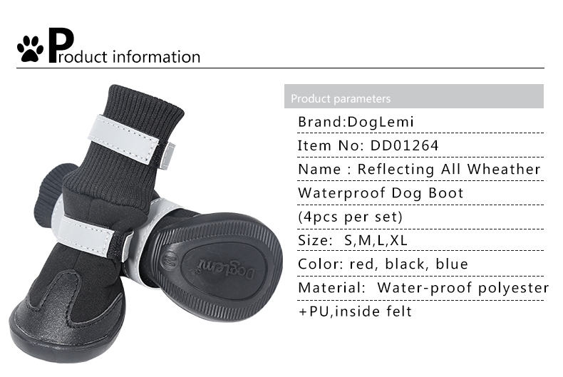 Reflecting All Weather Waterproof Dog Boots Pet Snow Boots Shoes
