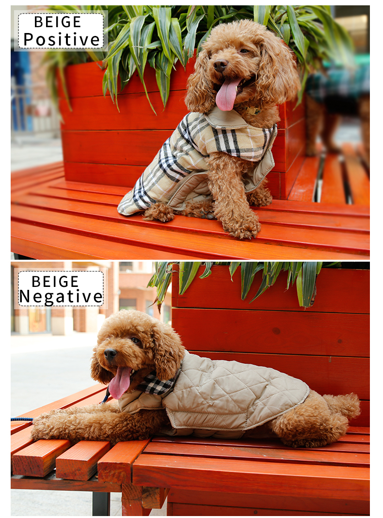 EngLish Design Checked Water Repellent Winter Apparel Pet Dog Jacket Clothing