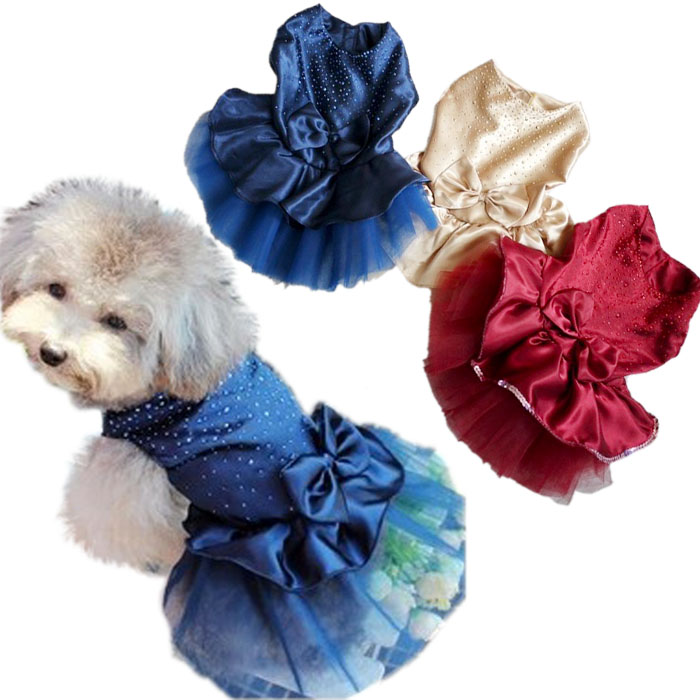 Pet dog bling dress Dog luxury party wedding dress Lovely skirts Summer clothes Puppy costume clothes