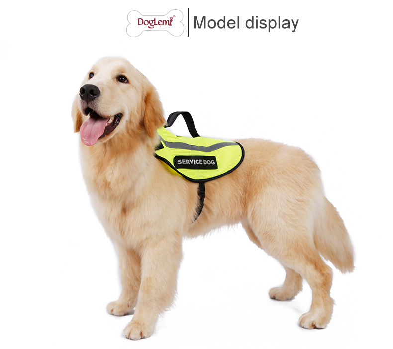 Reflecting Service Dog Vest Dog Harness with Handle and 2 Free Removable Patches