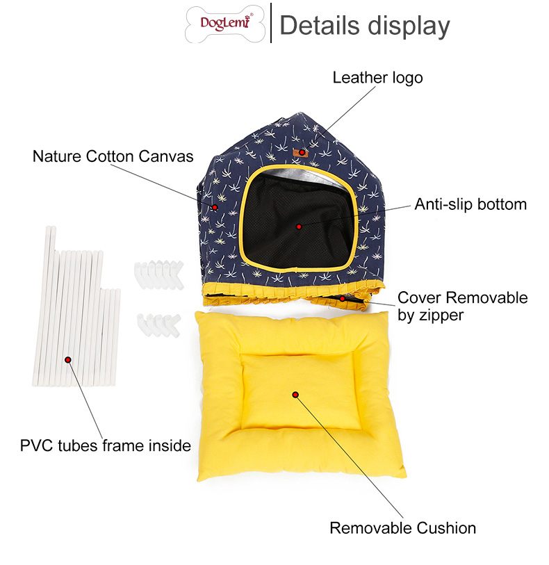 Foldable Canvas Dog Cave Bed With Cushion Newest Pet House For Cat