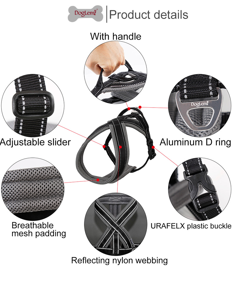Reflecting luxury super light pet harness with handle ,Adjustability comfort no pull dog harness pet
