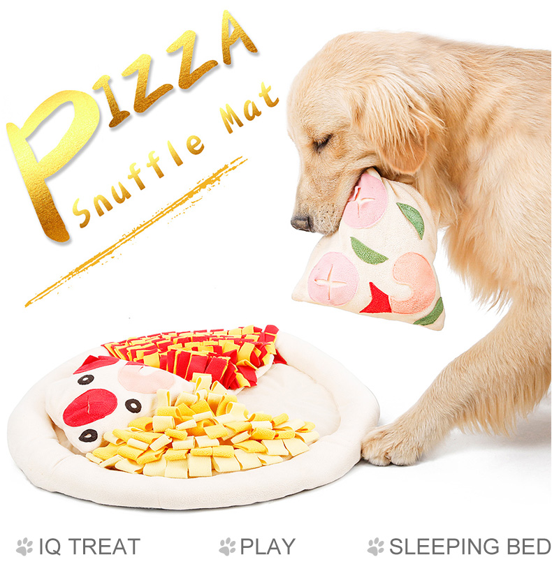 Pizza design pet dog snuffle mat training ,pet snuffle mat for dogs removable toys with donut beds