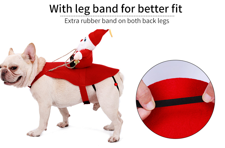 Running Santa Claus Dog Costume Christmas Party Dressing Up Pet Dog Clothes Pet Outfit