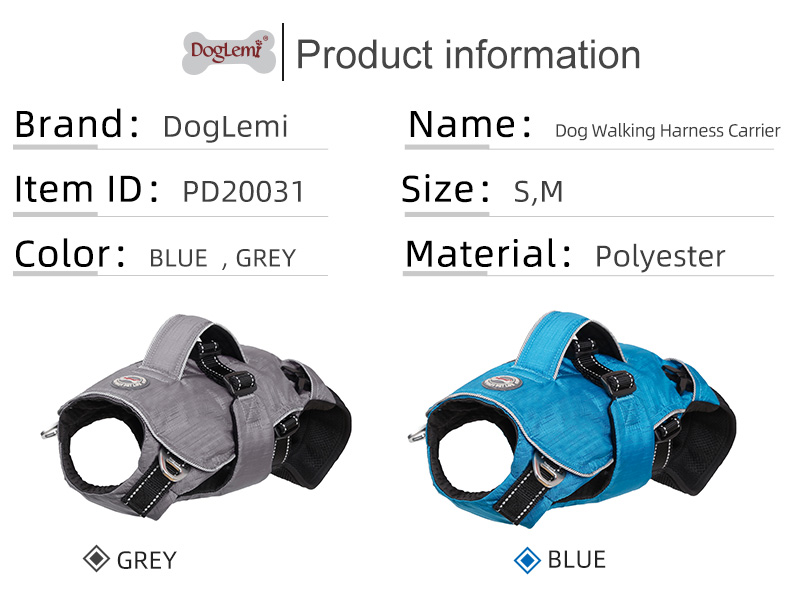 Dog outdoor backpack harness adjustable ,3 in 1 Multi functional personalized puppy dog harness with carrier